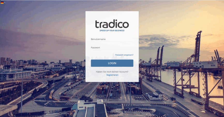 Sign up page of Tradico AG